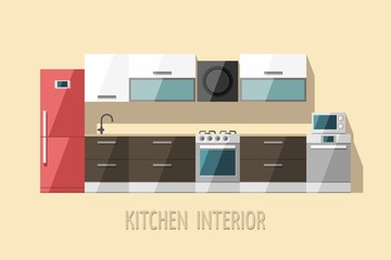 Kitchen interior. Kitchen furniture. Flat vector illustration.