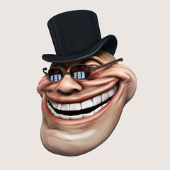 Laughing internet troll 3d illustration isolated.