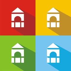 Iconos piezas de construcción colores sombra