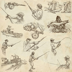 Fishing - Freehand sketches, originals on old paper