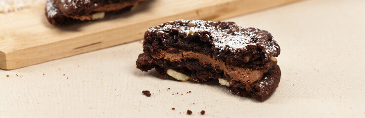 Chocolate Sandwich Cookies. Selective focus.