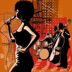 Jazz singer with saxophonist and double-bass player © Isaxar