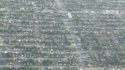 Miami homes in early morning seen in aerial view