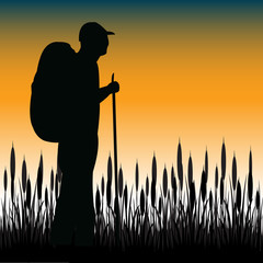 Tourist in field