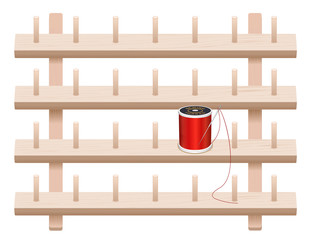 Wall Rack, 4 wood shelves, spool pegs, sewing thread, needle