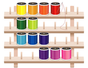 Wall Rack, 4 wood shelves, spool pegs, sewing threads, needle