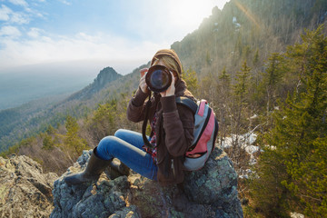 Mountain female photographer
