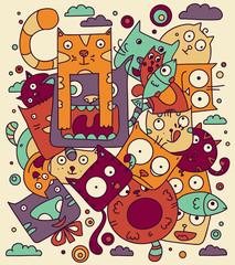 Cat doodle vector illustration