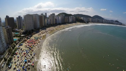 Aerial view of a famous Beach on a Summer Day in Brazil