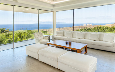 Modern living room with sea view