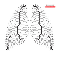 Human lung. Circuit board. Vector illustration. Eps 10
