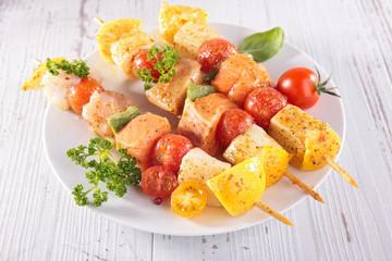 raw fish skewer