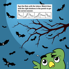 Kids game to stimulate attention matching bats halloween