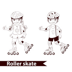 Vector Rollerblades kids in protective equipment