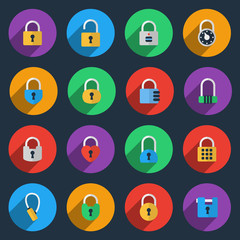 Padlock icons in flat style