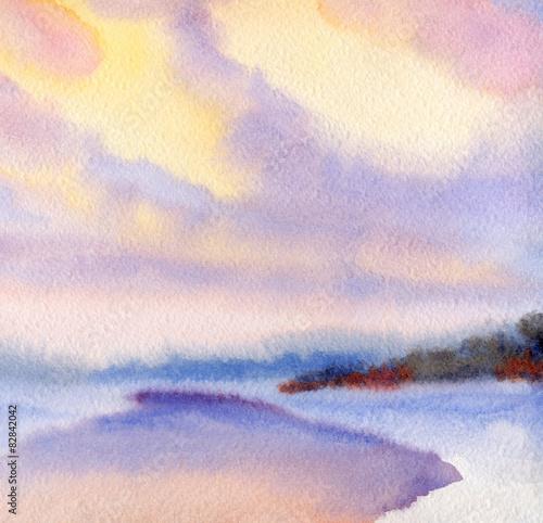 Fototapeta Watercolor winter landscape. Evening sky over lake