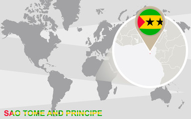 World map with magnified Sao Tome and Principe