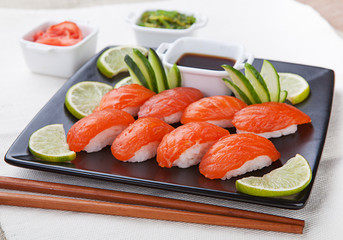 Delicious fresh sushi served on a plate. Japanese Cuisine