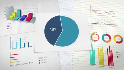 Circle diagram, Pie chart indicated 40 percent,