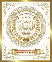 Anniversary card 100 years in a gold design