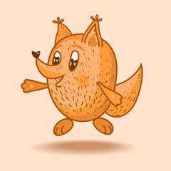 Vector illustration bouncing fox.