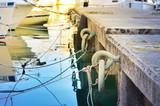 Marina with mooring rings and ropes