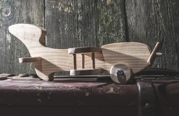 Children's toy wooden airplane