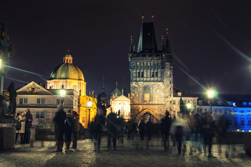 Charles bridge in Prague, Czech Republic at night