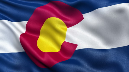 US state flag of Colorado waving in the wind - seamless loop