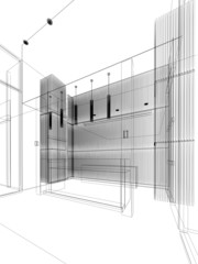 sketch design of lobby ,3dwire frame render