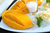 sticky rice with coconut milk mix and ripe mango.