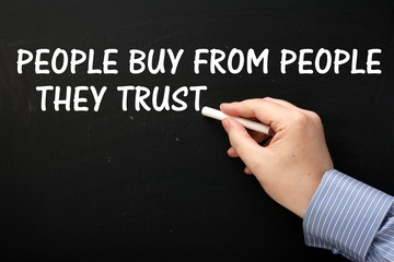 People Buy From People They Trust on a Blackboard