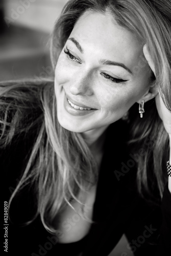 The beautiful girl in the black-and-white photo © chernikovatv