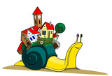 Snails with village illustration