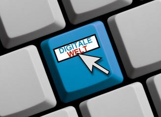Blaue Tastatur mit Mauspfeil Digitale Welt