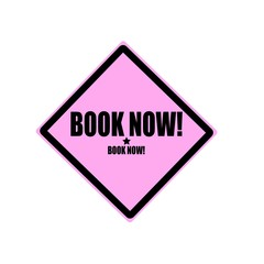 Book now black stamp text on pink background