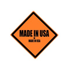 MADE IN USA black stamp text on orange background