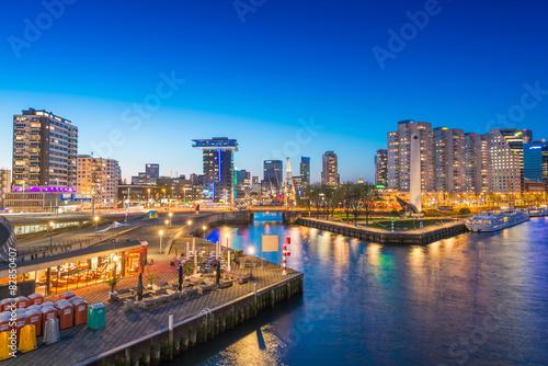 obraz PCV Rotterdam skyline, Holandia noc