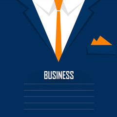 Business men's suit with tie and handkerchief - vector illustrat