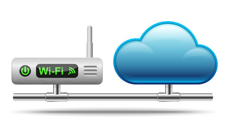 Icon of a wireless router connected to a cloud.  Vector Illustra