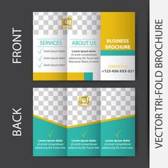 Business tri-fold brochure vector design
