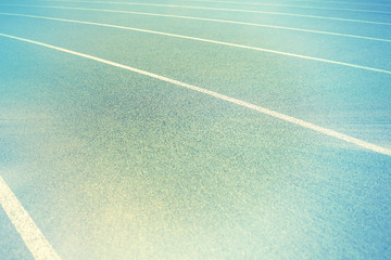 background of blue track for running at stadium
