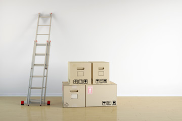 Umzug mit Umzugskartons und Leiter