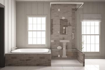 Dusche und Badewanne im Bad