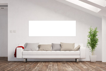 Panorama Leinwand an Wand im Wohnzimmer