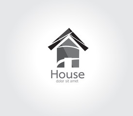 Abstract Vector design Logo,icon House of 3d shapes.