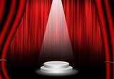 Fill object : Flare Stage with red curtain and pedestal circle.