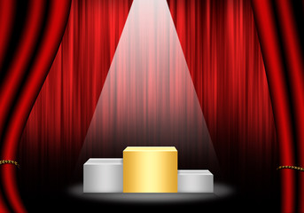 Fill object : Flare Stage with red curtain and pedestal gold ran
