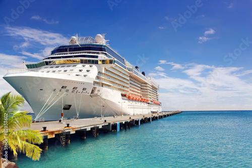 Luksusowy statek wycieczkowy w porcie