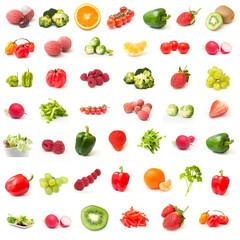 composition ingrédients fruits et légumes sur fond blanc